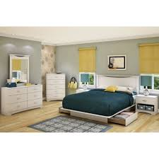 white wooden low profile bed with storage combined with high head