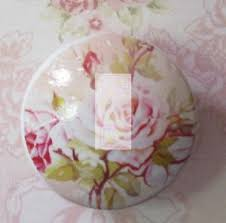 shabby flowers pink ceramic knob chic shabby flowers cabinet kitchen office