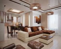 Combined Living And Dining Room Interior Nature Tones U0026 Color Blasts For Modern Home Interior