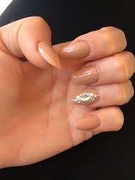 acrylic nails beige nails with diamond oval nails beige nail