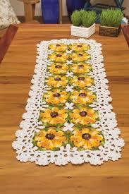 free crochet table runner pattern yellow flowers crochet kingdom