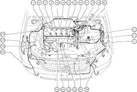 position of parts in engine compartment toyota corolla 2004