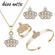 indian bridal jewelry necklace images Kisswife gold color crown bridal jewelry set hollow flower jpg