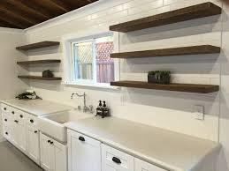 reclaimed wood floating shelves design for white kitchen decofurnish