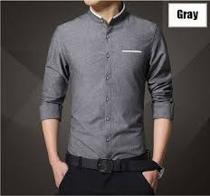 new brand men u0027s casual shirt long sleeve banded collar easy care