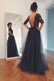 style lace and tulle black prom dresses half sleeves open back