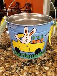 painted easter buckets easter personalized painted tin pail by ladeedahart