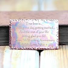 7th year wedding anniversary 7th wedding anniversary copper wallet insert by