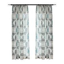 unique window curtains blue and gray leaf patterned unique window curtains