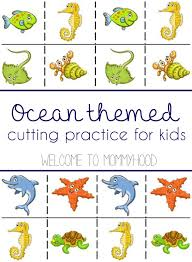 a guide to cutting activities and free ocean themed cutting