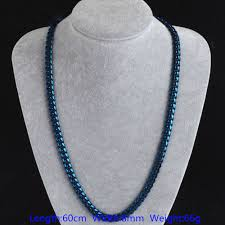 blue stainless steel necklace images Mens trendy fashion blue curb cuban chain 8mm wide stainless steel jpg