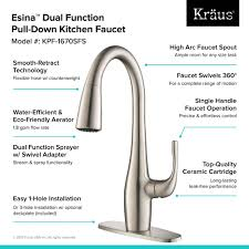 kitchen faucet kraususa com kraus esina 8482 single handle pull down kitchen faucet with dual function sprayhead in