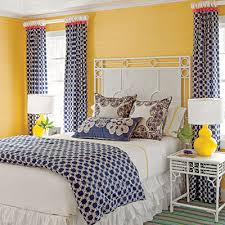 Blue And Yellow Bedroom by Have Fun With Pattern Wallpaper Walls And Bedrooms