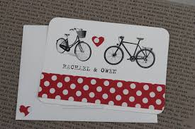 paperdollsweddings vintage bicycle postcard wedding invitation
