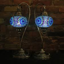 Mosaic Table Lamp Mosaic Table Lamps In Blues Swan Neck Pair Mosaic Lamps Nyc