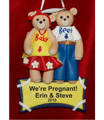 expecting belly bear couple hand personalized christmas