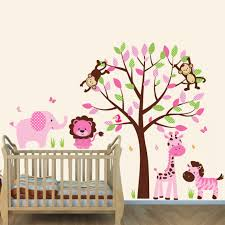 Jungle Wall Decal For Nursery Pink And Brown Jungle Murals For Rooms With Elephant Wall