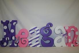 Decorated Letters For Nursery Wood Letters Pink And Purple Nursery Letters 6 Letter Set