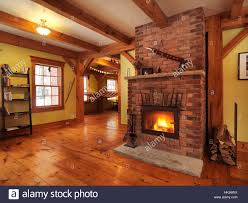 timber frame cottage style canadian country house hall interior