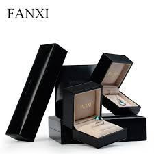 luxury bracelet box images Fanxi luxury black leather jewelry packaging gift box ring jpg
