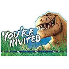 dinosaur birthday amscan prehistoric party postcard invitations 8 ct