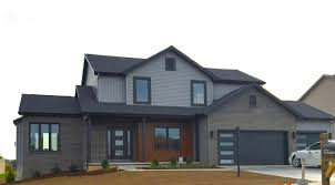 mastic deep granite grey siding black trim cedar siding black