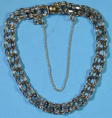 chain link charm bracelet images Vintage sterling silver 925 7 double link charm bracelet w safety jpg