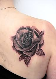 upper back with nice rose flower tattoo golfian com