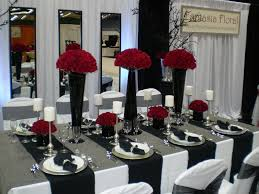 black white red wedding table decorations in red and white