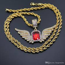 big gold necklace men images Wholesale hip hop angel wings with big red stone pendant necklace jpg