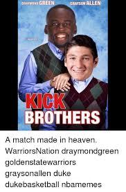 Duke Basketball Memes - draymond green grayson allen nbamemes brothers a match made in