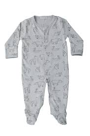 Pima Cotton Baby Clothes Gray Origami Snap Footie Baby Noomie Pima Cotton Clothing For