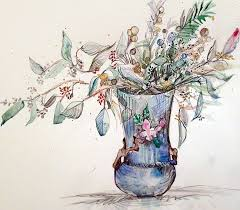 Blue Vase Story My Story Is Art Peony Watercolor Paintings And The Story On