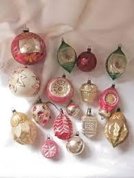 vintage unsilvered shiny brite ornaments mica stripes lantern ufo