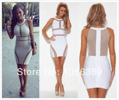going out dresses new style 2014 bandage dress bodycon white sheath mini