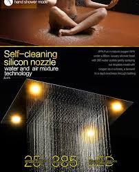 embed ceiling led rain shower set 304sus mirror panel high flow