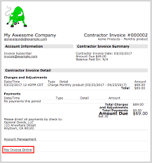 contractor invoices invoice details