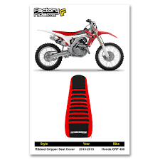 2013 2015 honda crf 450 red black red ribbed gripper seat cover by
