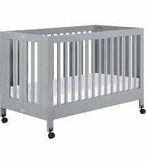 babyletto maki full size folding portable crib grey