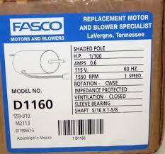 Fasco Bathroom Exhaust Fan D1160 Fasco Bathroom Fan Vent Motor For 7163 2593 655 661 663 655n