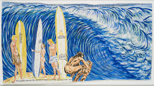 raymond pettibon s surf paintings are pure punk poetry huffpost no title when the surf 2008 ink and gouache on paper