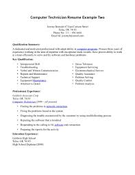 cover letter resume sample for computer technician resume template