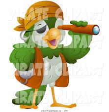 vector clip art of a cute pirate parrot viewing through a scope