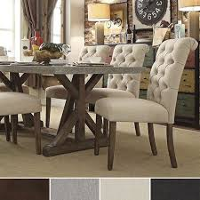 Benchwright Premium Tufted Rolled Back Parsons Chairs Set Of - Cushioned dining room chairs