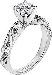 carved engagement rings carved diamond engagement ring w floral carvings 05ct tw ac