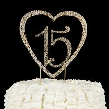 15 cake topper amazoncom 15 heart cake topper gold 15th birthday party 15