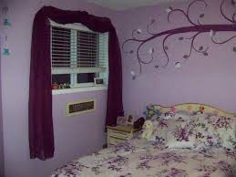 Bedroom Decorating Ideas With Purple Walls Bedroom Brilliant Floral Wall Painted Decal And Purple Scarf Over