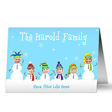 personalized photo snowman family cards