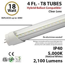18 inch fluorescent light led replacement 4 ft led tube hybrid ballast compatible 5000k replace fluorescent