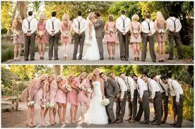 california courtyard wedding brown groomsmen blush pink
